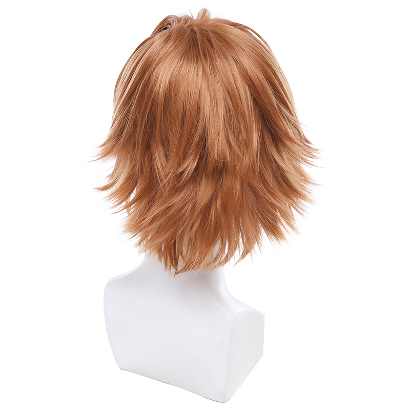 L-email wig Brand New Men Ouma Shu Cosplay Wigs 30cm/11.81inches Brown Heat Resistant Short Synthetic Hair Perucas Cosplay Wig
