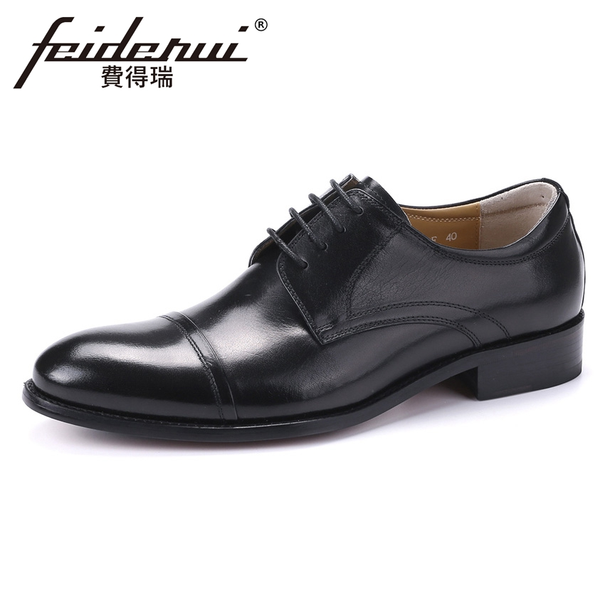 2018 Classical Genuine Leather Men's Formal Dress Office Footwear Round Toe Lace-up Man Derby Wedding Party Shoes YMX468 plus size new arrival men s formal dress office footwear genuine leather round toe lace up man derby wedding party shoes ymx410