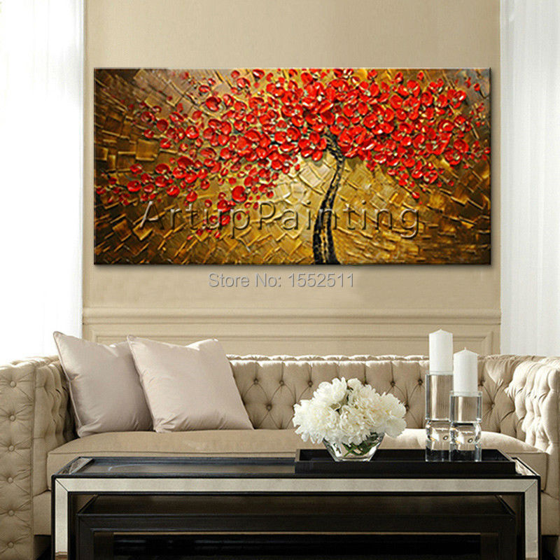 Canvas painting tree, Hand Painted palette knife 3D ...