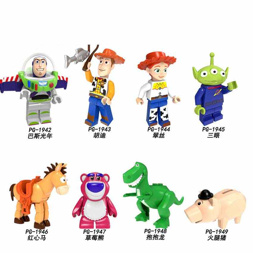 2019 Disney Brinquedos História legoed 4 Minifigured Woody Buzz Lightyear Jessie Toy Aliens Building Blocks Toy for kids PG8222