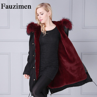Fauzimen luxury fashion Women Winter coat longest natural fox fur fur collar raccoon fur lined coat military uniform jacket