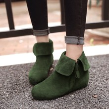 SALCXO ankle boots for women winter boots women autumn women shoes flock height increasing girl boots black shoes woman &A101-a