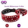 Red Suede Rhinestone sm collar neck bondage fetish flogger slave bdsm collar harnesses men bdsm toys sex products for couples