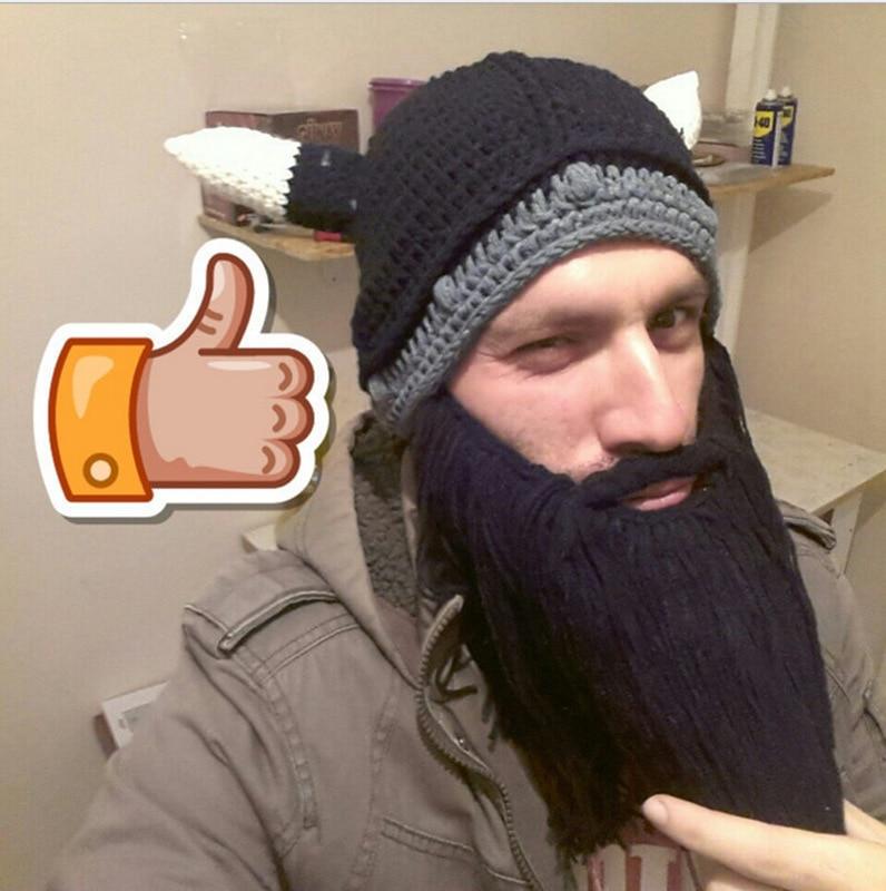 Hats Winter Men Warm Knitted Patchweork Hat Costume Viking Beard