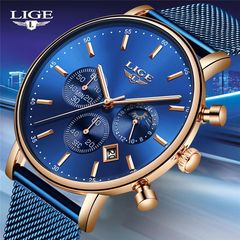 2019 New Women Gift Clock LIGE Fashion Brand Quartz Wristwatch Ladies Luxury Rose Gold Watch Female Watch Women Relogio Feminino-in Women's Watches from Watches