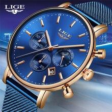 Женские кварцевые наручные часы LIGE, роскошные часы цвета розового золота, новинка 2019 года