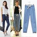 S1f108 # 1471 новых летних женщин мода свободного покроя широкий эластичный пояс узкие джинсы женские джинсовые брюки легкий вес
