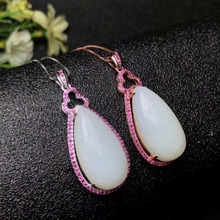 SHILOVEM 925 silver natural White Jade pendant  water drop send necklace classic wholesale Fine women gift yhz132501aghby