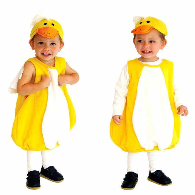 Милые детские пижамы кигуруми, резиновые костюмы для костюмированной вечеринки на Хеллоуин с утиным пуримом, детское праздничное платье для сцены