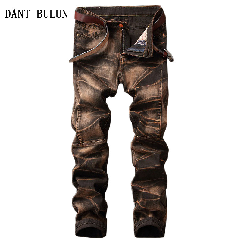 DANT BULUN Men's Vintage Jeans Print Retro Biker Straight Skinny Denim Pants For Male Gothic Washed Trousers Plus Size 29-42