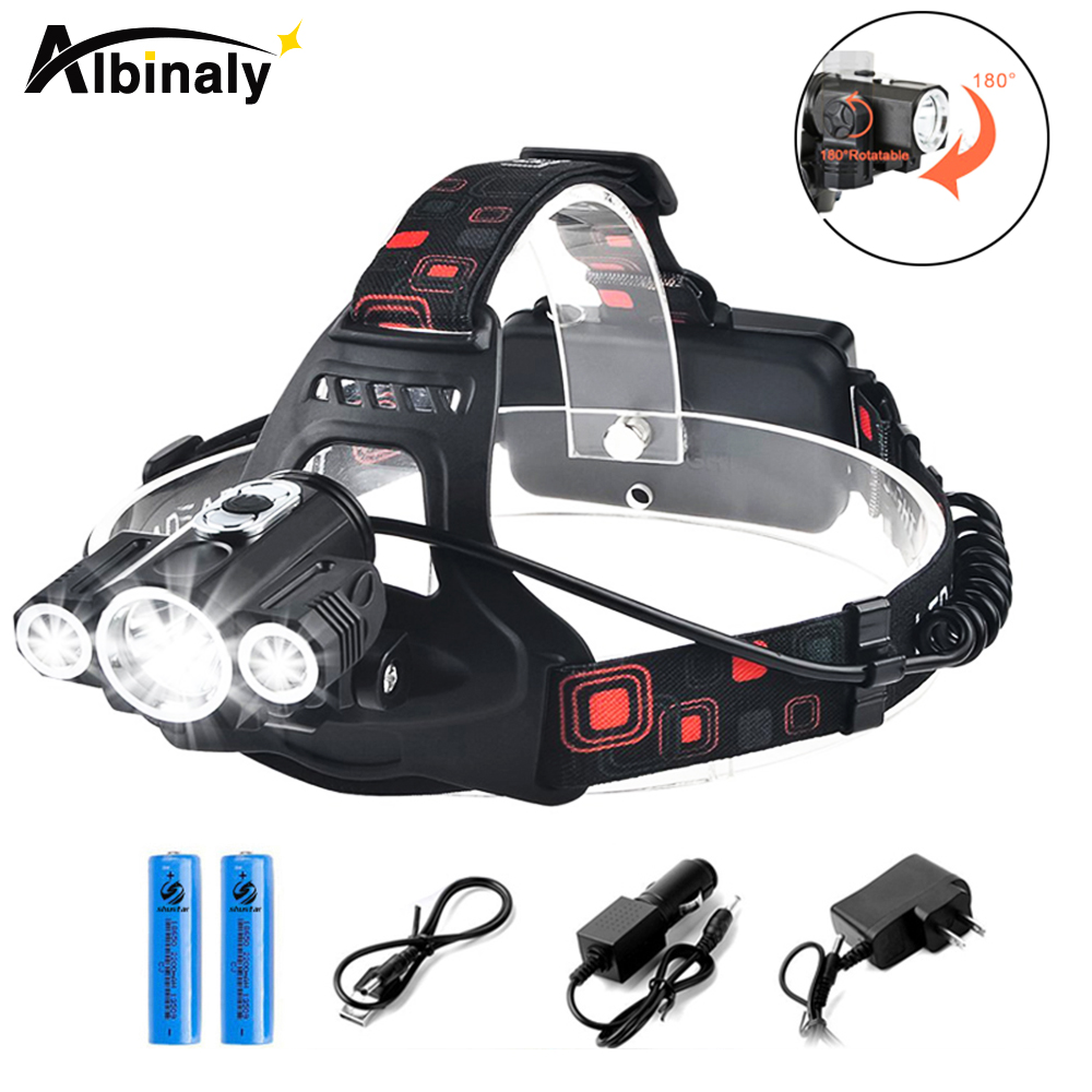 Albinaly LED Head Lamp 3x T6 3 Lamps 4 Dimmable Mode Waterproof 10000LM LED Flashlight Fishing light with Rechargeable Battery