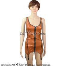 e7b5201e24fa91 Sexy Latex Top Tank Shirt Rubber unterhemden Top Singulett Mit  Strumpfbänder Backless Und Front Zipper YF
