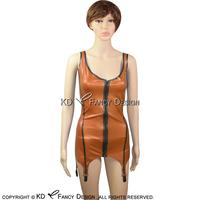 Sexy Latex Top Tank Shirt Rubber undershirts Top Singlet With Garters Backless And Front Zipper YF 0034