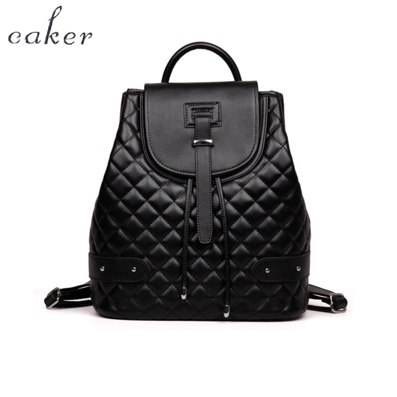 Caker 2017 Women Diamond Lattice Backpacks Drawstring Genuine Leather Pink Blue Large Backpack Small Incense Wind School Bags