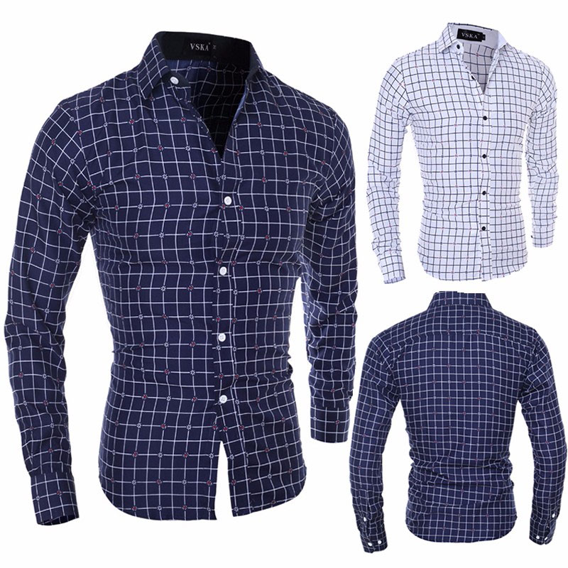 ZOGAA Brand men dress shirts long sleeve Smart Casual Polyester Plaid mens shirts streetwear men long sleeve shirt Size S 2XL in Casual Shirts from Men 39 s Clothing