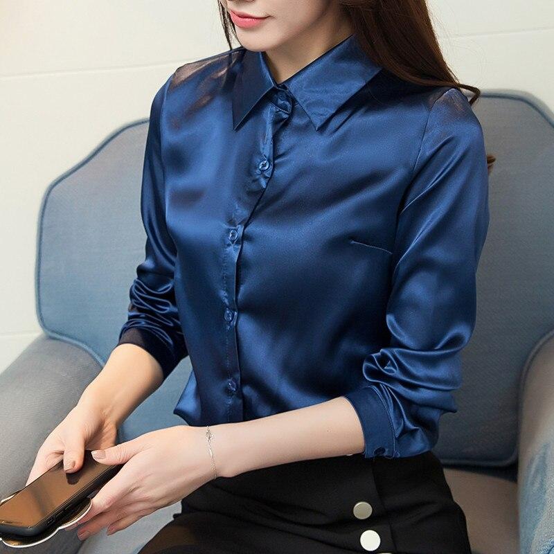 7b8439c15f5de5 2018 Women silk satin blouse long sleeve turn down collar ladies office  work elegant female silk blouses slim shirts