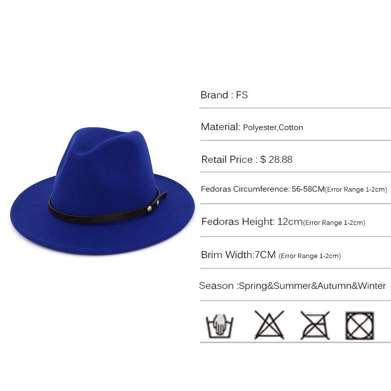 2e3aa968d5467 FS Red Black Felt Fedora Hat For Men Wide Brim Womens Winter Church Hats  Trilby Jazz