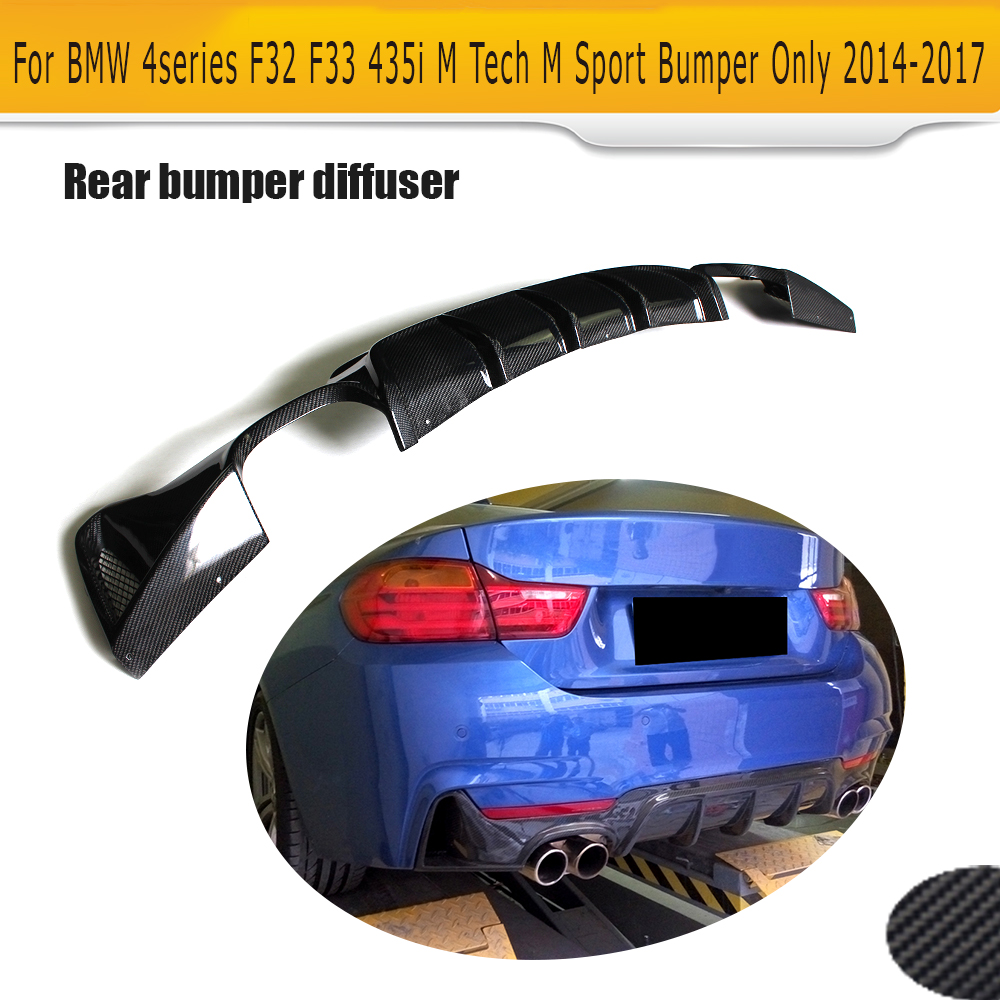 4 Series Carbon Fiber Car Rear bumper lip diffuser for BMW F32 F33 M Sport Only 14-17 435i 420i Cabriolet Four Outlet carbon fiber car rear bumper extension lip spoiler diffuser for bmw x6 e71 e72 2008 2014 xdrive 35i 50i black frp