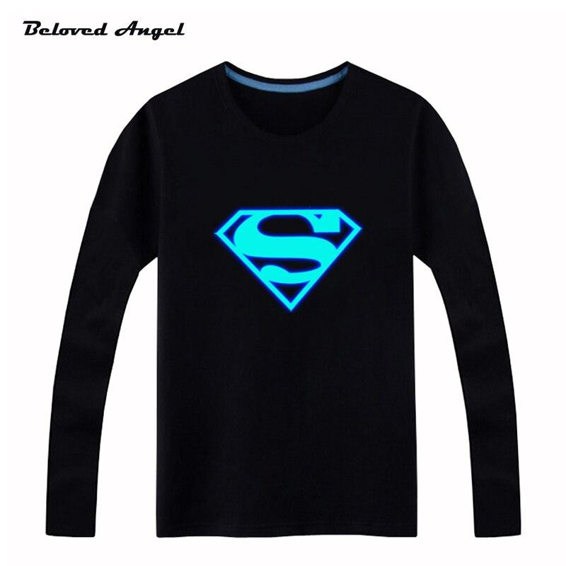 cdc3077d3 2019 novedad camiseta luminosa de manga larga para niños camiseta Batman  Navidad adolescentes chicas Tops 3-15 años adolescentes niño camisetas