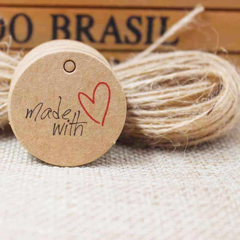 รูปหัวใจthankของคุณของขวัญแท็กแกว่งคราฟท์สีแดงหัวใจแต่งงานโปรดปรานตกแต่งแท็กแท็กของขวัญ100ชิ้น+ 100ชิ้นป่านสตริง