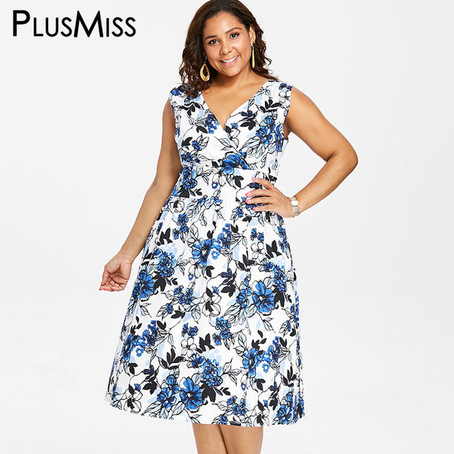 bb895d31e6b PlusMiss Plus Size Vintage V Neck Midi Tank Dress 5XL Women Sleeveless A  Line Floral Print