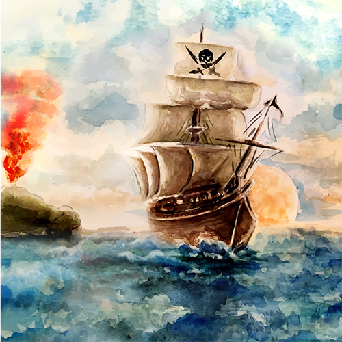Pirate Ship Theme Scene Sea  Watercolor backdrops Vinyl cloth High quality Computer printed wall  Backgrounds pirate jack