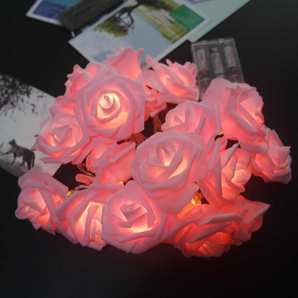 new arrival pink rose string light led, Handmade floral holiday party lights, Wedding flower decoration,Home flower arrangement