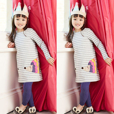 Stylish-Kids-Children-Girls-Clothes-Dresses-Birthday-Gifts-Party-Long-Sleeved-Shirt-A-line-Striped-Cotton-Dress-2-3-4-5-6-7-Year-1