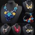 Модные Цветочные Ожерелья Подвески Женщины 2016 Кристалл Колье Ювелирные Изделия Collares Кольер Femme Биб Chocker Boho Макси Акриловой Смолы