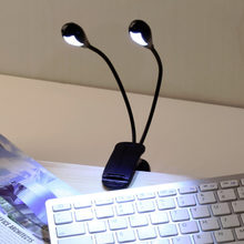 Hot Worldwide 2 Dual Flexible Arms 4 LED Clip-on Light Lamp for Piano Music Stand Book(China)