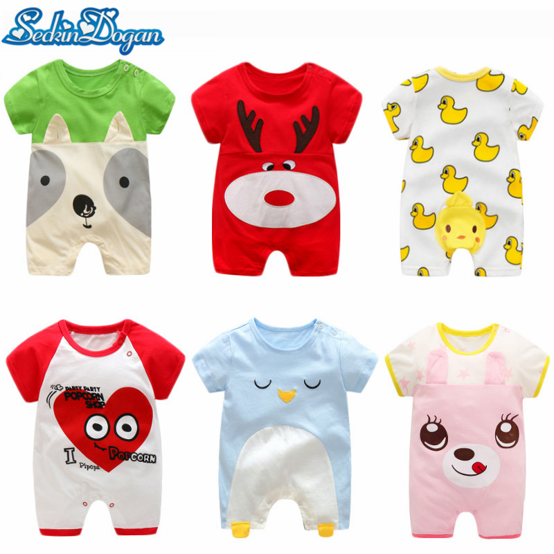 2018 Newborn Infant Baby Romper Cotton Short Sleeve Cute Cartoon 15 Kinds Colors Patterns Boys Girls Jumpsuit Climbing Clothes