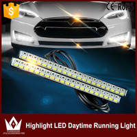Tcart 2pc Lot 12v Newest White Yellow LED DRL Daytime Running Lights 5730 Waterproof Dual Color
