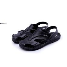 Sandals Men 2019 Summer Sandals Men Fashion Beach Skin Sandals Men Genuine Leather Wear Non-slip Fla