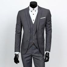 Jacke + pants + weste sets/herren business casual 3 stücke anzüge/herren zwei taste anzug blazer mantel + hose + weste