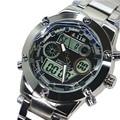 Brand Dual Display Fashion Digital Watch Men Led Full Steel Sports Quartz-Watch Shock Resistant Luminous Wristwatches