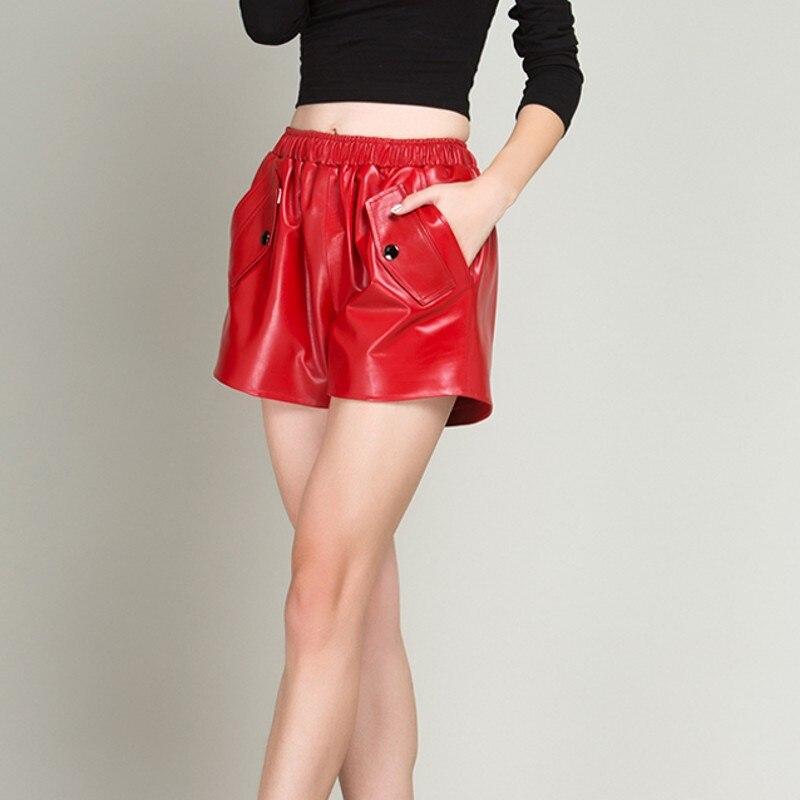 Rojos Ol Cortos Casuales Piel Alta De Oveja Cómodos Coreano 1 Calidad Femeninos Elástica Mujer Cintura Moda 2 Rectos Pantalones aYndqxv7a