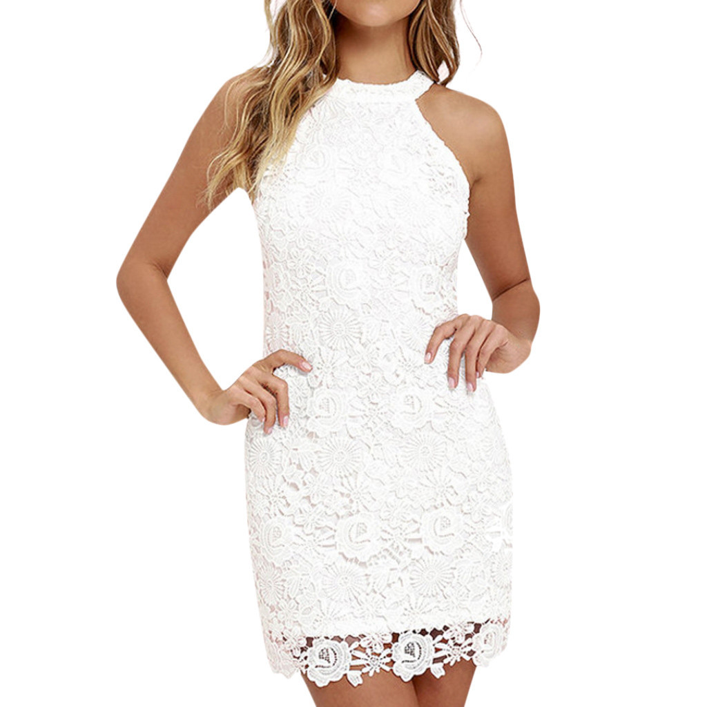 Womens Dress Sexy Women Lace Slim Dress Elegant Halter Collar Party Dress Vestidos Hollow out Vest Evening Party Dress