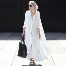Melflow Summer Shirt Beach Dress Women Oversize Swimwear Cover-Ups Bikini Cover Ups Ladies Kaftan Bathing Suit White Sundress