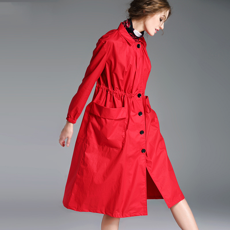Spring and autumn women's new European and American loose large size casual British long paragraph skirt type   trench   coat TB1857