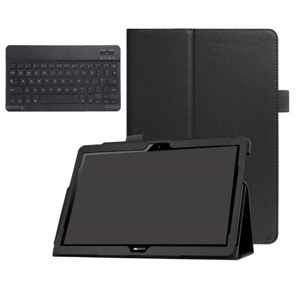 Kemile Bluetooth Keyboard Case For Huawei MediaPad T3 10 AGS-L09 AGS-L03 9.6 Tablet Slim Smart Leather Case Stand Cover ultra slim pu leather case w wireless bluetooth keyboard for huawei mediapad m2 10 0 tablet keyboard case smart folio cover