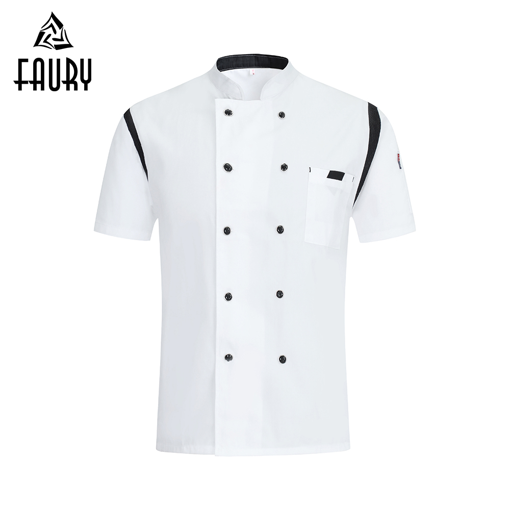 2019 High Quality Chef Jacket Short Sleeve Women Men Food Services Cooking Clothes Chef Restaurant Uniform Hotel Sushi Costume