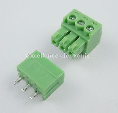 50 Pcs 3.81mm Pitch 3 Pin Straight Screw Pluggable Terminal Block Plug Connector