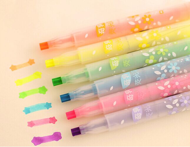 Photos Deco Star Marker Color Highlighter pen for reading book Fluorescent drawing pen office material School supplies kids gift