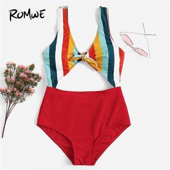 Romwe спортивный Многоцветный Полосатый узел спереди купальник с вырезом женские летние пляжные Сексуальные Беспроводные с глубоким вырезом...
