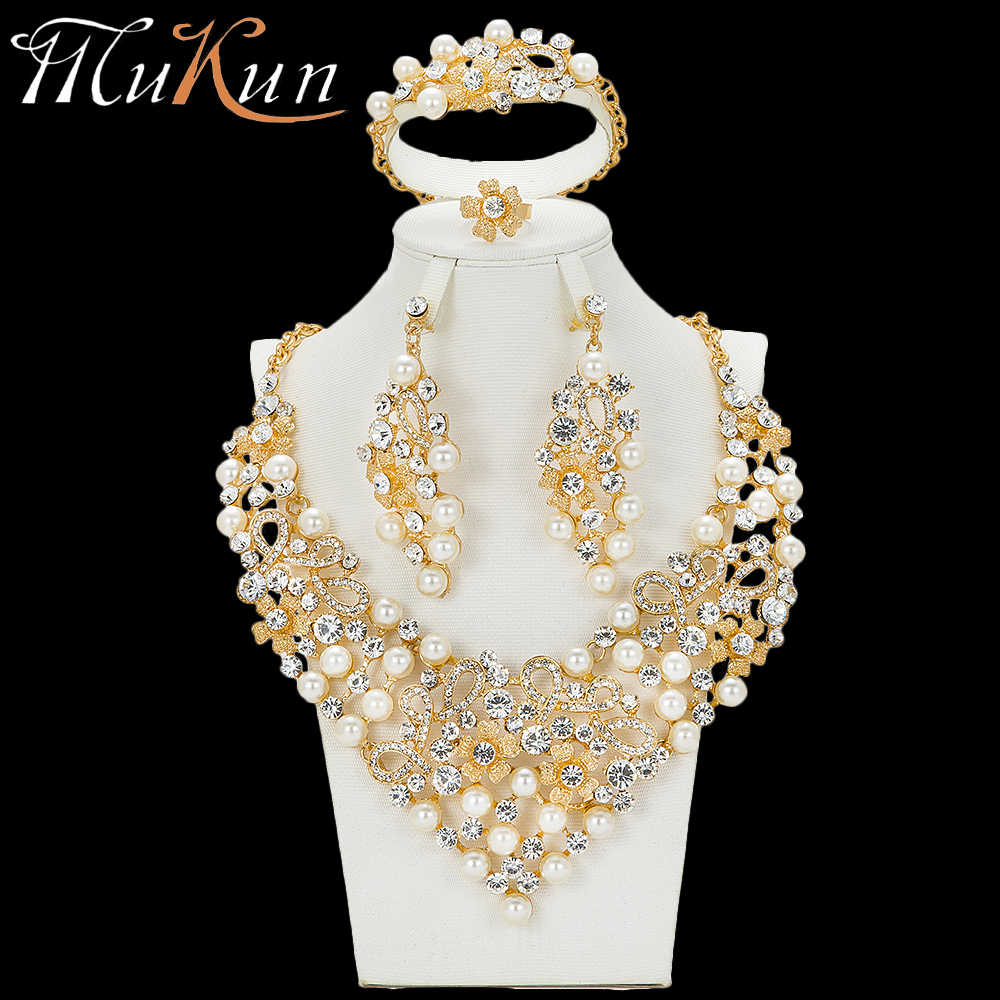 MuKun fashion African beads jewelry sets for women wedding bridal Dubai gold jewellery sets luxury Egypt  jewelry designers