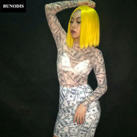 BU226 Women Sexy Net Yarn Transparent Bodysuit And Spandex Short Skirt Dollars Pattern 3D Printed Nightclub Party Costumes