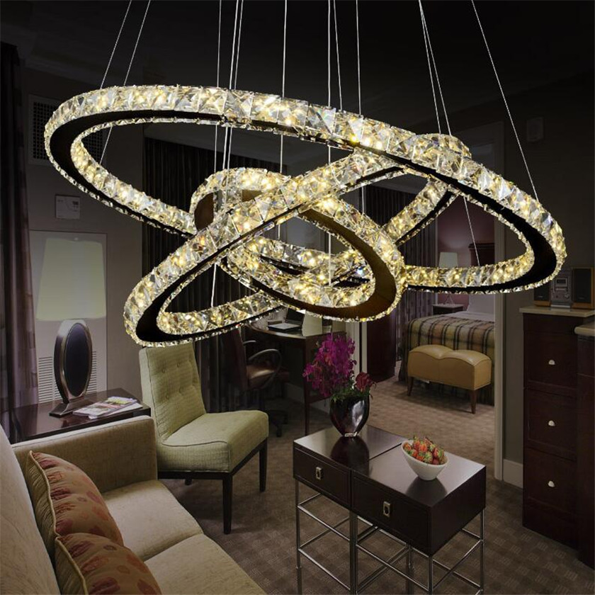 LED Pendant Chandelier and Luminaire Suspend lamps  with Crystals Diamond Rings Hanging Light  Stainless Steel Fixtures Lusters modern chrome chandelier crystals diamond ring led lamp stainless steel hanging light fixtures adjustable cristal led lustre