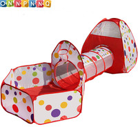3 In 1 Indoor Kids Play Tent Play House Tents Tunnel Ball Pit Toy Christmas Gift