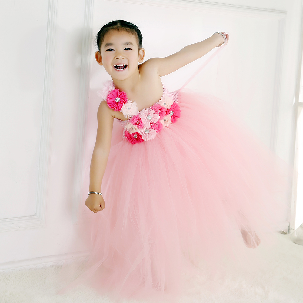 Bridesmaid dress girl pink promotion shop for promotional pink shabby flower girl wedding bridesmaid tutu dress kids one shoulder birthday party ankle length dresses size 2 10 years ombrellifo Images