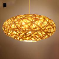 Bamboo Wicker Rattan Round Lantern Shade Pendant Light Fixture Rustic Country Vintage Suspended Lamp Custom Design